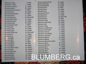 Blumbergs listed on the Liepaja Memorial Wall.