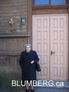 Bella Blumberg outside Leipaja Jewish Ghetto