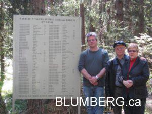 Jonathan, Henry and Marcia Blumberg at Grobina Jewish Memorial - May 2008
