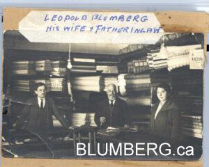 Leopold (Leib) Blumberg with his wife Breina and father-in-law in their store in Katola Strasse, Jelgava.