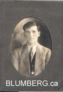 Julius Blumberg as a young man in Bloemhof, South Africa